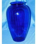 """ANCHOR HOCKING COBALT BLUE RIBBED BUD VASE 12.5""""- BEAUTIFUL!! - $54.45"""