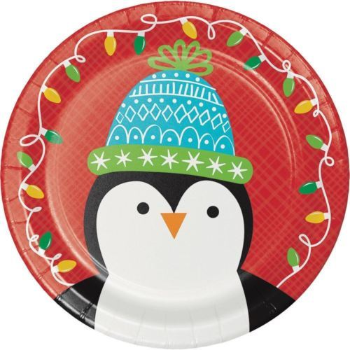 "Friends of Santa Penguin Paper 8 Ct 7"" Dessert Cake Plates"