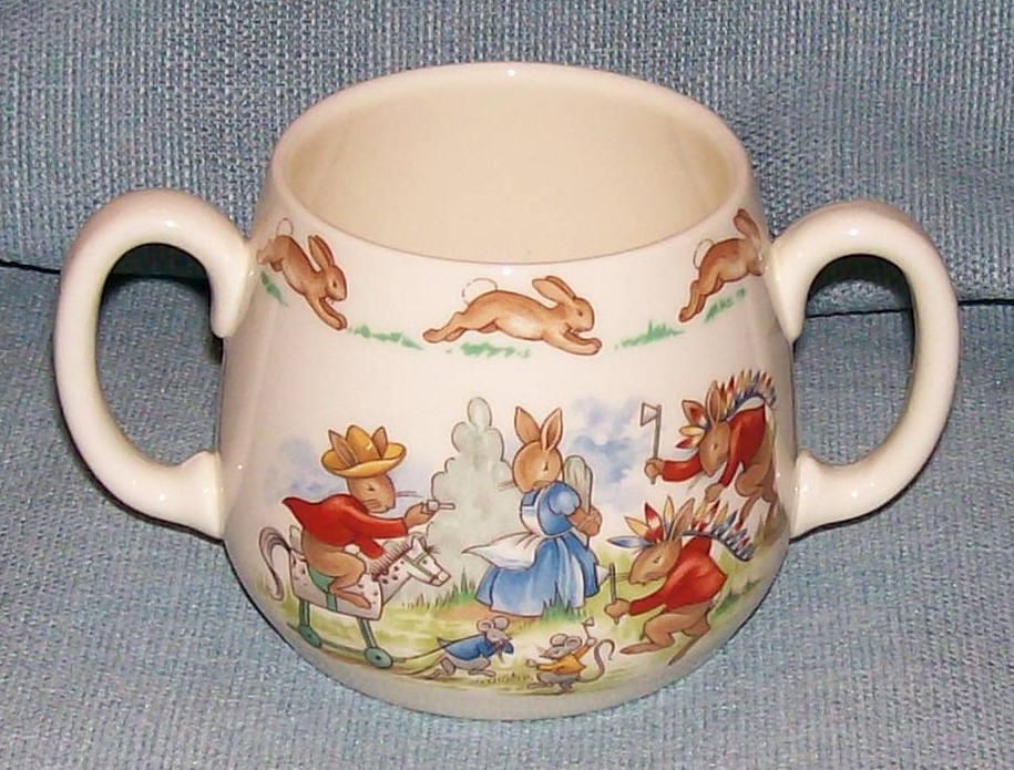 Royal Doulton Bunnykins -2 Handled Child Cup - Cowboys and Indians -VGUC