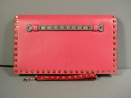 Valentino Pink Grey Red Green Leather Gold Rock Stud Flap Wristlet Clutc... - $1,034.07
