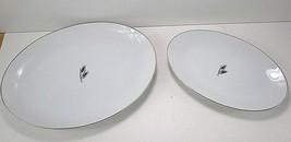 Fukagawa Arita #928 Hand Painted Silver Wheat Lot of 2 Platters Japan 12... - $29.69