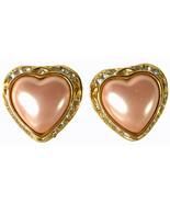 Joan Rivers Faux Pink Pearl  Rhinestone Gold Tone Heart Classic Clip Ear... - $18.38
