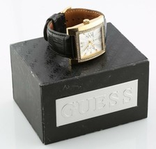 Women's Guess Stainless Steel Quartz Watch W/ Black Leather Band w/ Box & Papers - £75.99 GBP