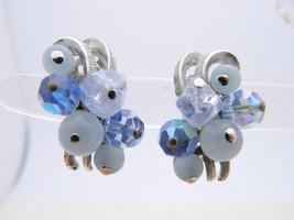 VTG CORO Blue Lucite Crystal Aurora Borealis Beaded Silver Tone Clip Ear... - $19.80