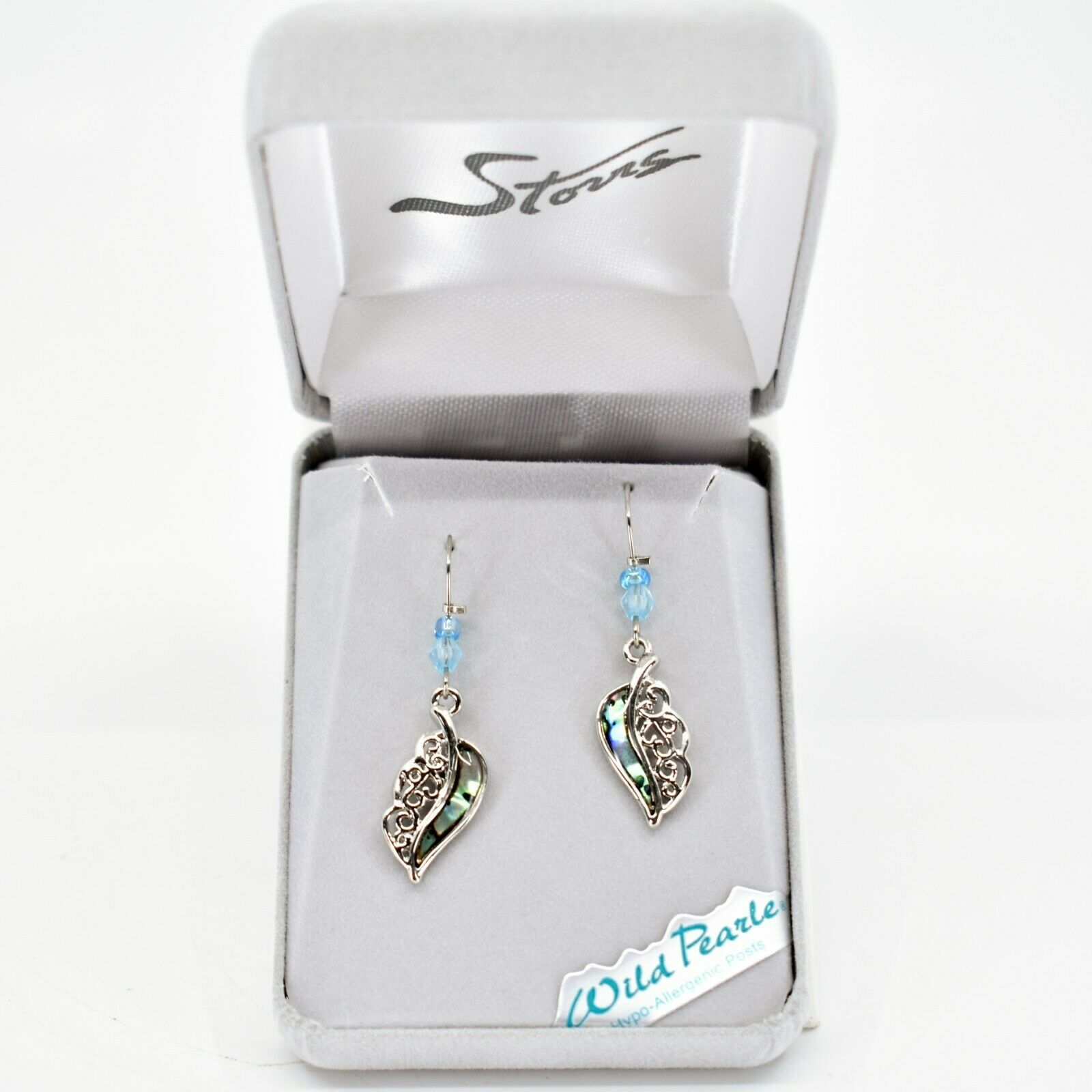 A.T. Storrs Wild Pearle Abalone Shell Filigree Feather Silver Tone Hook Earrings