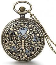 JewelryWe Retro Design Bronze Butterfly Flower Openwork Cover Pocket Quartz - $27.87