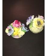 RADNOR Staffordshire Bone China Figurine Multi Color Roses Flowers in Blue Pot  - $17.82