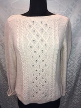 Talbots Petites Womens M Tan B Sweater Bling Rhinestones PM Beads - $24.87