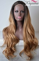 K'ryssma Ombre Blonde Synthetic Lace Front Wigs Dark Roots Long Wavy Hea... - $37.19