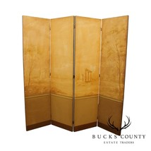 Greek Revival Antique Hand Painted 4 Panel Folding Screen, Room Divider - $995.00