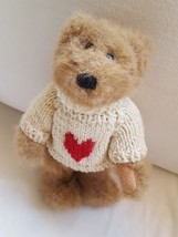 "1994 GANZ JOINTED BEAR WITH RED VALENTINE HEART SWEATER 9"" Vintage cute - $8.59"