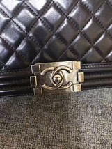 AUTHENTIC CHANEL LE BOY BLACK LAMBSKIN MEDIUM FLAP BAG RHW image 6