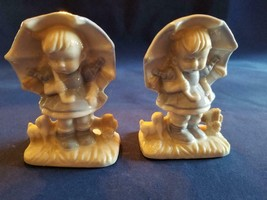 Lot of 2 Girl Figurines with Light Blue Dress and Umbrella Made in Japan - $10.84