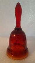 Vintage Amberina Glass Bell Diamond Pattern Red And Yellow - $22.30