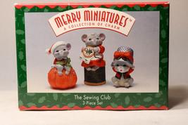 Hallmark: The Sewing Club - 3 Piece Set - 1995 Merry Miniatures - 3 Mice - $13.65