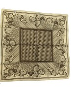 Vintage Cream & Brown Floral Textured Ladies Scarf Made in Italy 100% Po... - $14.34