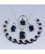 Best Selling Silver Color Women Jewelry Set Blue Zircon Earrings Necklac... - $34.56