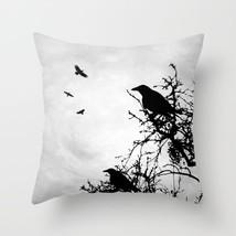Throw Pillow Cushion case Made in USA Design 43 Crow Raven grey black L.Dumas - $29.99+
