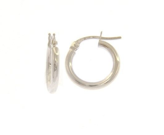 18K WHITE GOLD ROUND CIRCLE EARRINGS DIAMETER 10 MM, WIDTH 2 MM, MADE IN ITALY