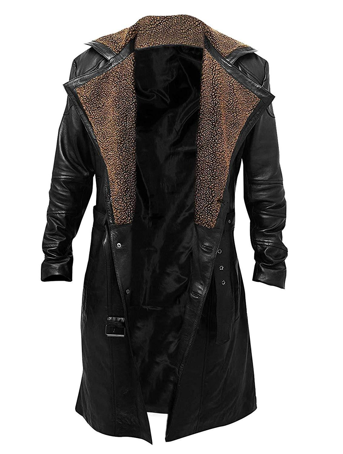 Mens blade runner 2049 ryan gosling officer k brown fur lapel black leather coat