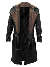 Mens blade runner 2049 ryan gosling officer k brown fur lapel black leather coat thumb200