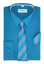 Berlioni Italy Kids Boys Long Sleeve Dress Shirt Set With Tie & Hanky Size 10