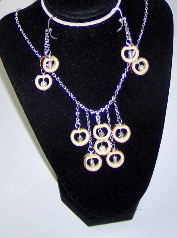Custom Made! Bamboo Earrings & Necklace Set Dangle Chandelier Natural Bamboo