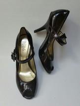BCBG Paris Shoes Heels Peep Toe Brown Patent Leather Womens Size 6.5 B / 36.5 - $34.61