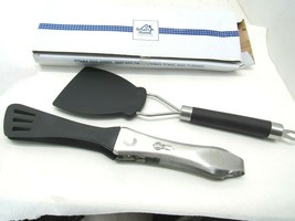 Set of Two Stainless Steel & Nylon Locking Tongs Kitchenware - $15.77 CAD