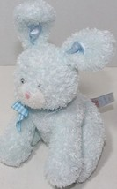 Baby GUND FUNNY BUNNY Blue Rabbit RATTLE LOVEY Gingham Bow STUFFED PLUSH... - $9.89