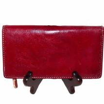 Fossil Sedona Red Leather Checkbook Credit Card Slim Organizer Wallet SL... - $37.99