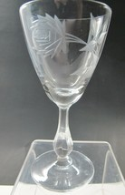Bryce Cut glass rose patten wine Made in USA Mt Pleasant PA mouth blown - $18.49