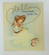 Vtg Greeting Card Secret Pal Cherub Angel Cowboy Lasso American Greeting... - $12.86