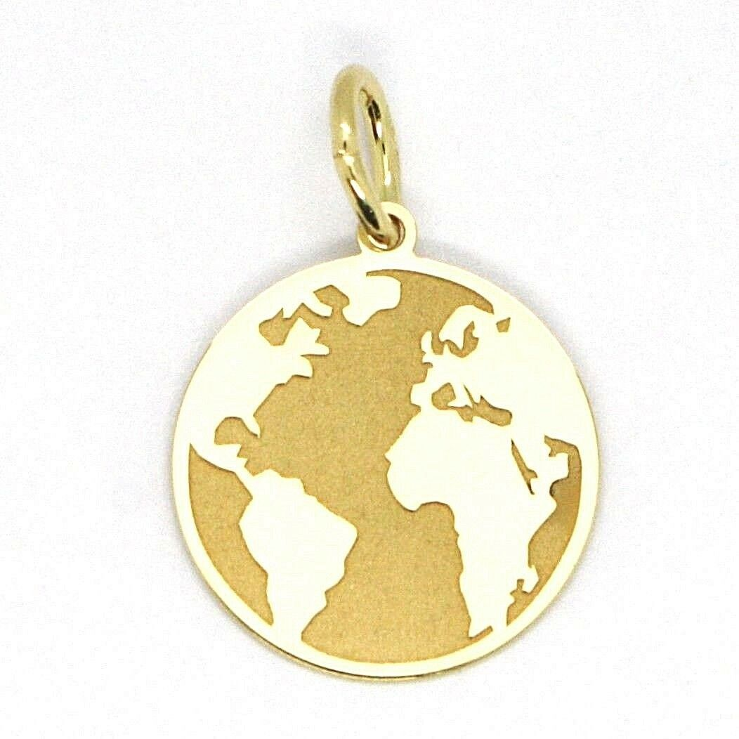 Yellow Gold Pendant 750 18K, Globe Flat, Satin, 16 mm, Italy Made
