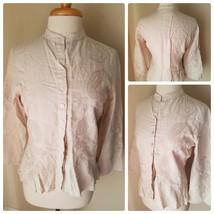 Liz Claiborne Lizwear Women's Blouse Beige Embroidered Button Up Linen S... - $26.96
