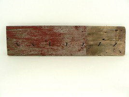 VTG/Antique 100+ Yr Reclaimed Red Barn Wood Rustic Coat Rack Wrought Head Nails - $145.00