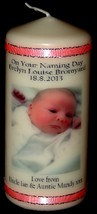 Baby Girl's Naming Day Personalised Photo Candle Gift Hand Made present #1 - $17.33