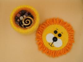 Handmade crochet jewelry box lion - round storage box kids - yellow orra... - $26.13