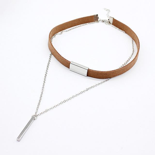 HMIXN Black Velvet Ladies Choker Necklace with Chain & Pendant image 4