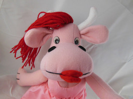 "Sugar Loaf Plush Cow Pink with Red Hair 1991 pink dress 17"" RARE Hard to Find - $11.93"