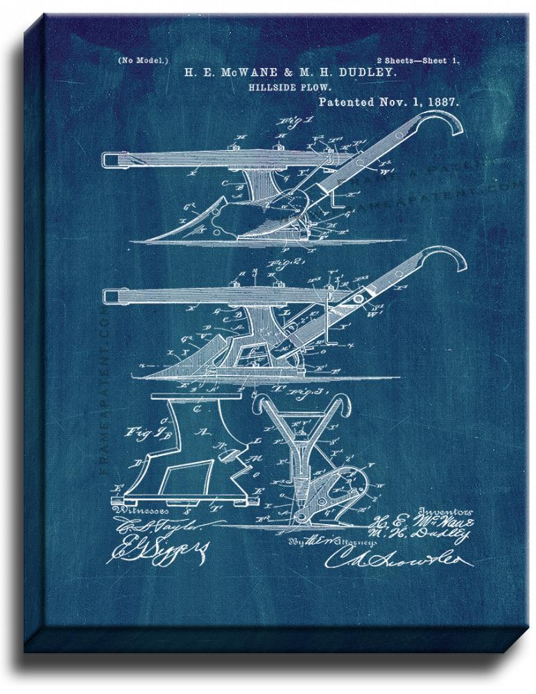 Primary image for Hillside Plow Patent Print Midnight Blue on Canvas