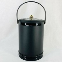 Vintage Georges Briard Black Faux Leather Insulated Lidded Handled Ice B... - $37.97