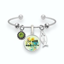 Be Still and Know Psalms 46:10 Silver Cuff Bracelet Christian Scripture Jewelry - $13.80