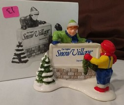 Dept 56 Snow Village Accessory 1990 KIDS DECORATING THE VILLAGE SIGN 51349 - $8.00