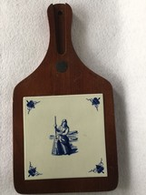 VINTAGE~Wood Bread Board (Cherry?) with DELFT BLUE TILE  INSERT~OLD~CRAZING - $9.95