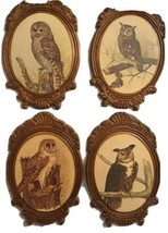 Set of 4 Vintage Wood Framed Owl Prints by E Rambow 1737 ON back - $25.00