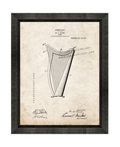 Harp Patent Print Old Look with Beveled Wood Frame - $24.95+