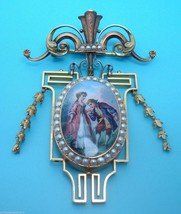 Exquisite Victorian 18k Gold Enameled Brooch / Locket (#325) - $4,959.24