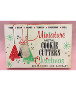 Vintage 1950s miniature metal Christmas cookie cutters set of 8 in box - $8.00