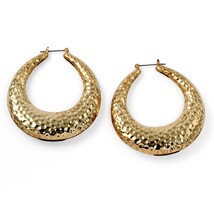 PalmBeach Jewelry Hammered-Style Hoop Earrings in Yellow Gold Tone (60mm) - $15.99